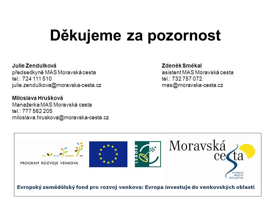 Děkujeme za pozornost Julie ZendulkováZdeněk Smékal předsedkyně MAS Moravská cestaasistent MAS Moravská cesta tel.: 724 111 510tel.: 732 757 072 julie