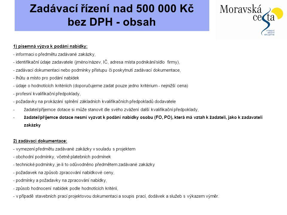 Zadávací řízení nad 500 000 Kč bez DPH - obsah 1) písemná výzva k podání nabídky: - informaci o předmětu zadávané zakázky, - identifikační údaje zadav