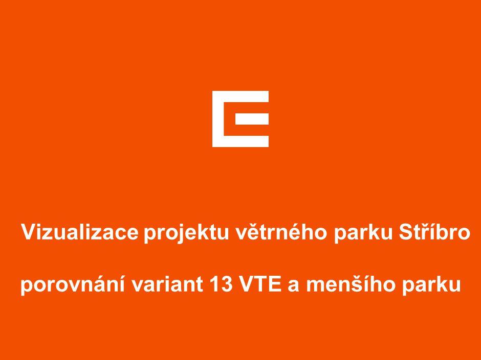 Vizualizace projektu větrného parku Stříbro porovnání variant 13 VTE a menšího parku