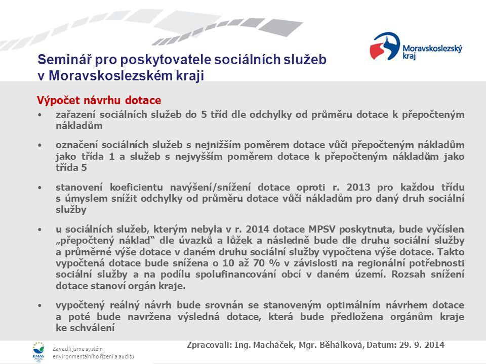 Zavedli jsme systém environmentálního řízení a auditu Seminář pro poskytovatele sociálních služeb v Moravskoslezském kraji Výpočet návrhu dotace zařazení sociálních služeb do 5 tříd dle odchylky od průměru dotace k přepočteným nákladům označení sociálních služeb s nejnižším poměrem dotace vůči přepočteným nákladům jako třída 1 a služeb s nejvyšším poměrem dotace k přepočteným nákladům jako třída 5 stanovení koeficientu navýšení/snížení dotace oproti r.
