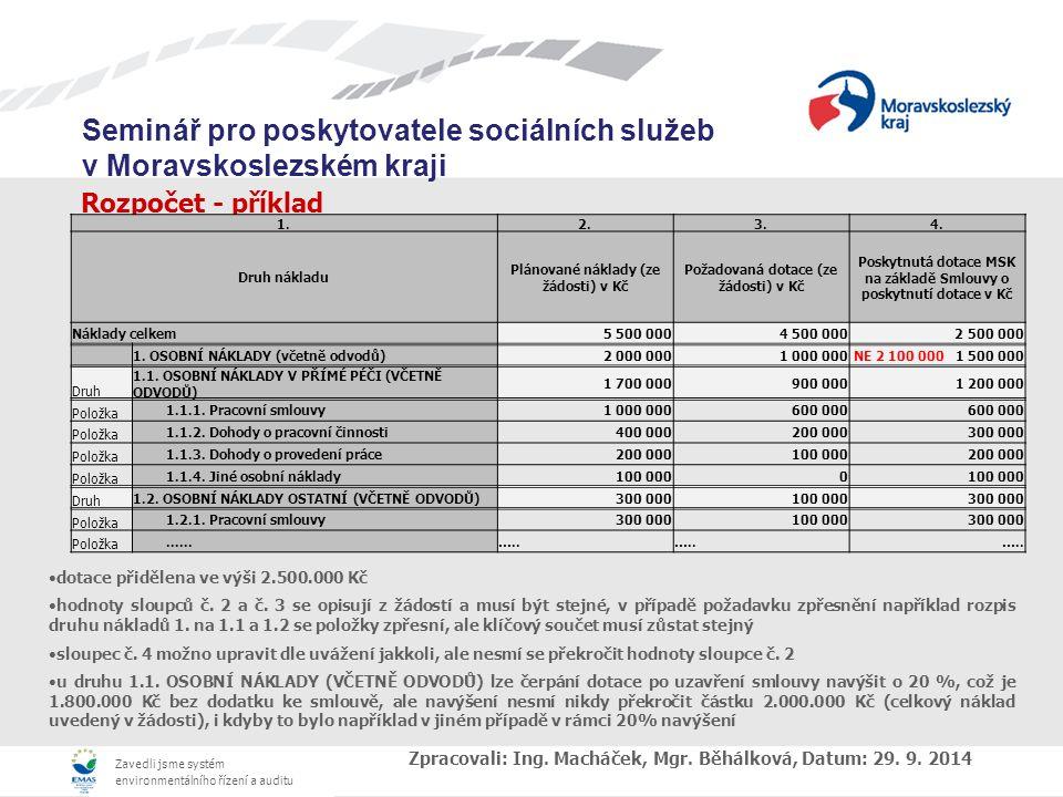 Zavedli jsme systém environmentálního řízení a auditu Seminář pro poskytovatele sociálních služeb v Moravskoslezském kraji Rozpočet - příklad dotace přidělena ve výši 2.500.000 Kč hodnoty sloupců č.