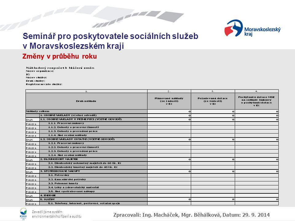 Zavedli jsme systém environmentálního řízení a auditu Seminář pro poskytovatele sociálních služeb v Moravskoslezském kraji Změny v průběhu roku Zpracovali: Ing.