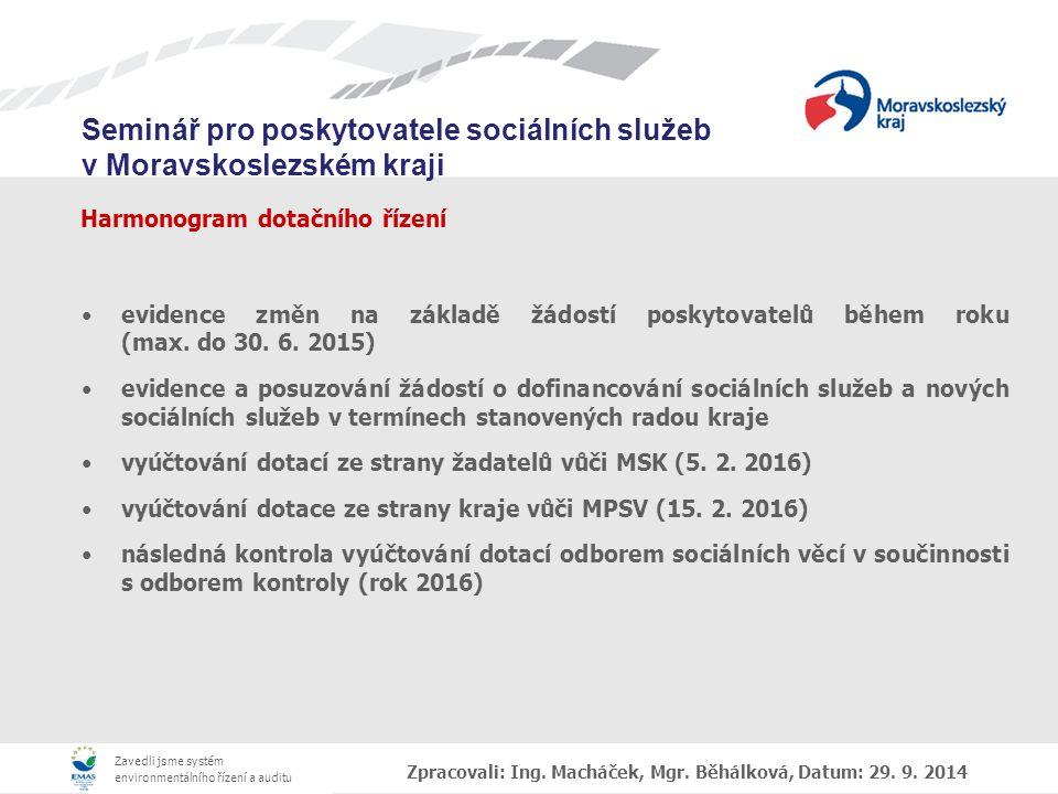 Zavedli jsme systém environmentálního řízení a auditu Seminář pro poskytovatele sociálních služeb v Moravskoslezském kraji Harmonogram dotačního řízení evidence změn na základě žádostí poskytovatelů během roku (max.