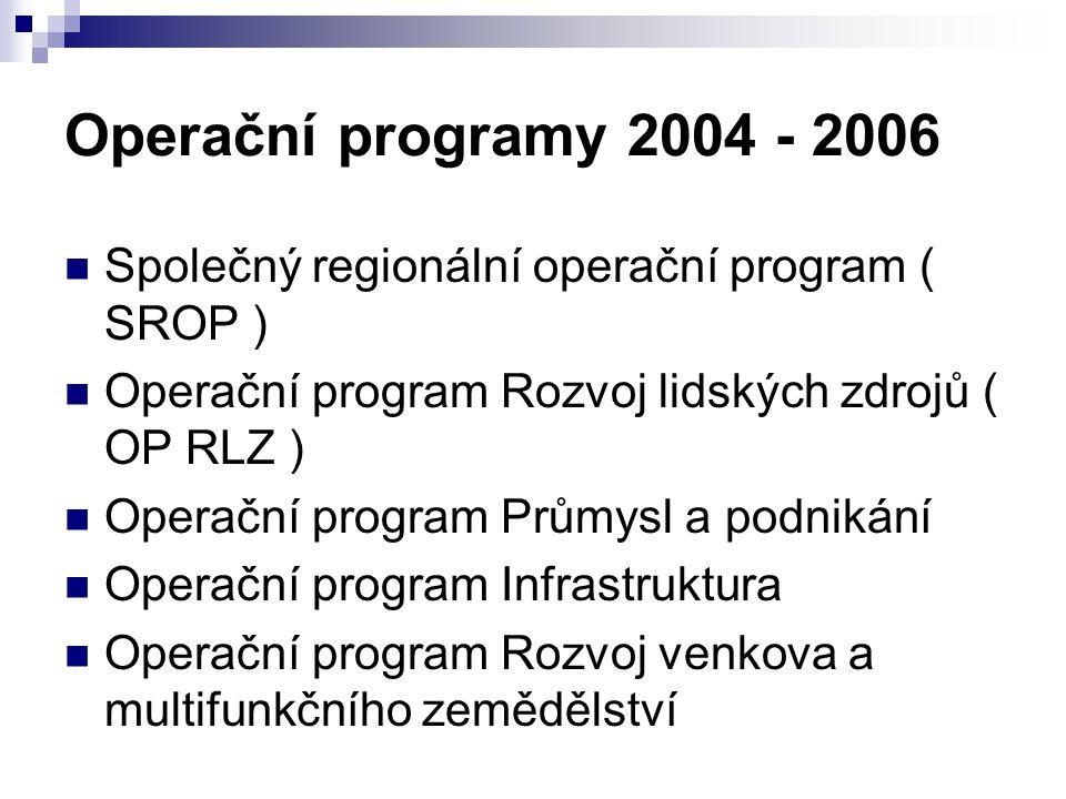 Operační programy 2004 - 2006 Společný regionální operační program ( SROP ) Operační program Rozvoj lidských zdrojů ( OP RLZ ) Operační program Průmys