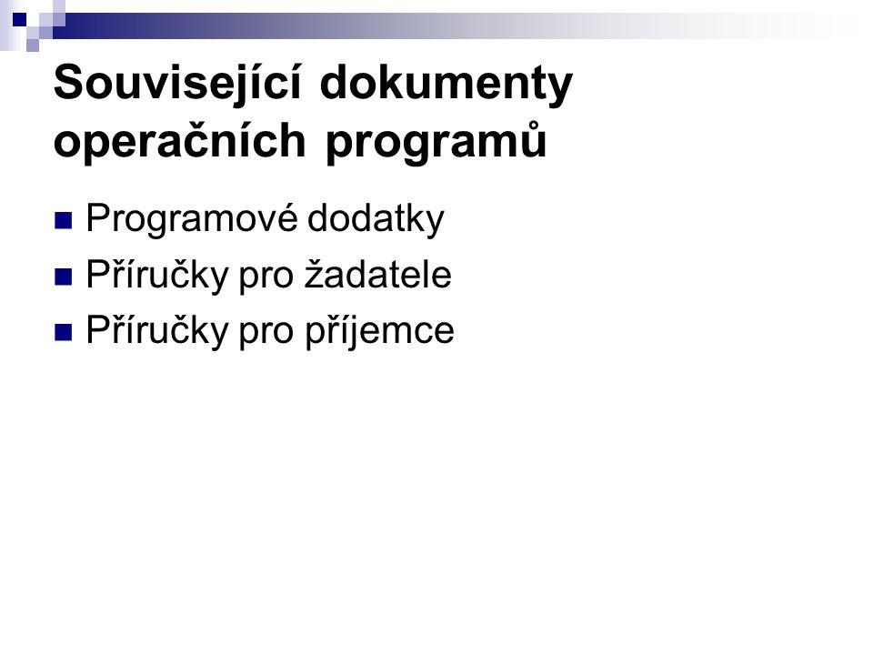 Související dokumenty operačních programů Programové dodatky Příručky pro žadatele Příručky pro příjemce