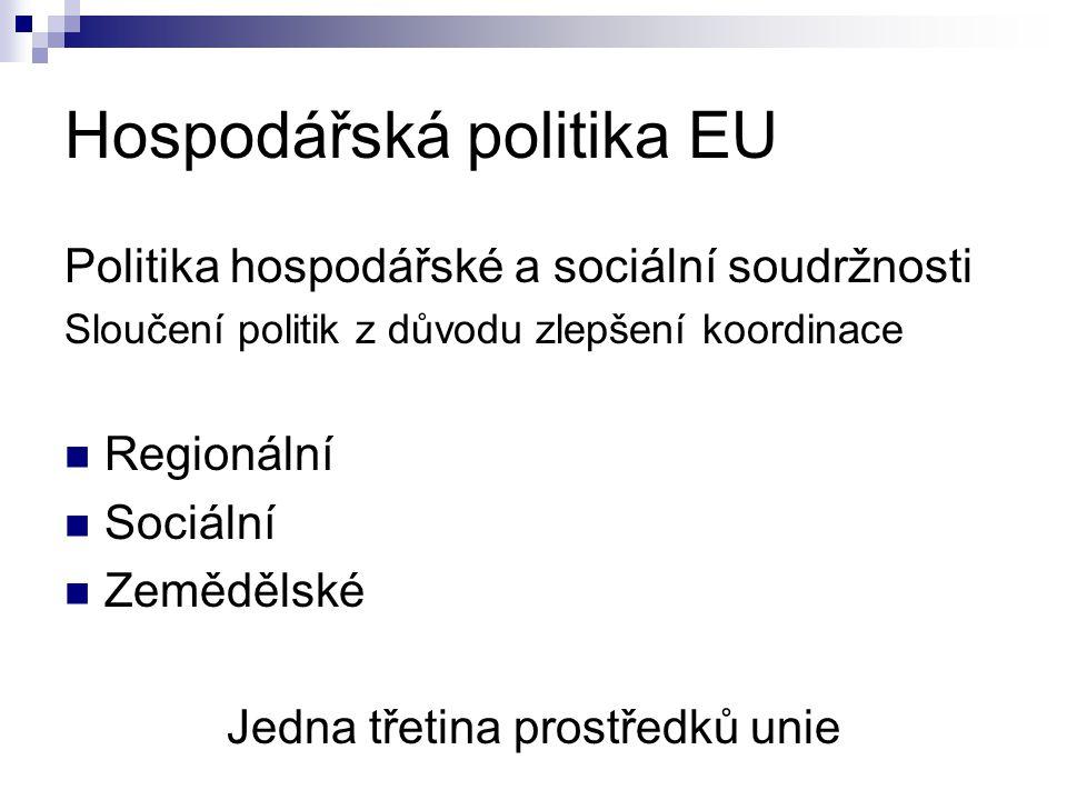 Hospodářská politika EU Politika hospodářské a sociální soudržnosti Sloučení politik z důvodu zlepšení koordinace Regionální Sociální Zemědělské Jedna