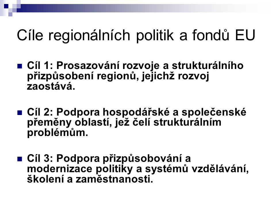 Cíle regionálních politik a fondů EU Cíl 1: Prosazování rozvoje a strukturálního přizpůsobení regionů, jejichž rozvoj zaostává. Cíl 2: Podpora hospodá