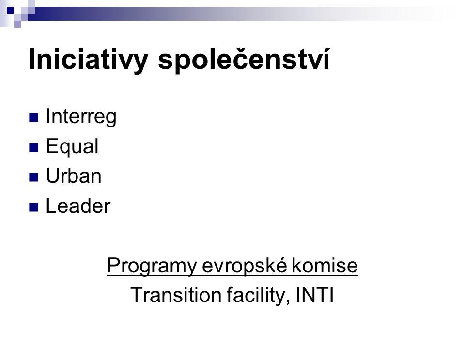 Iniciativy společenství Interreg Equal Urban Leader Programy evropské komise Transition facility, INTI