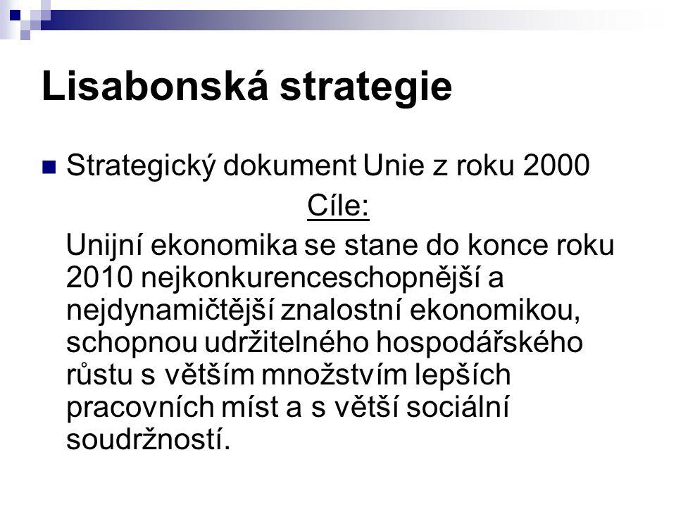 Lisabonská strategie Strategický dokument Unie z roku 2000 Cíle: Unijní ekonomika se stane do konce roku 2010 nejkonkurenceschopnější a nejdynamičtějš