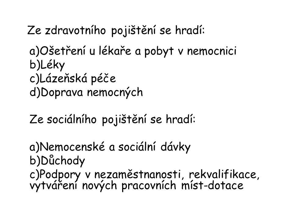 Ze zdravotního pojištění se hradí: a)Ošetření u lékaře a pobyt v nemocnici b)Léky c)Lázeňská péče d)Doprava nemocných Ze sociálního pojištění se hradí