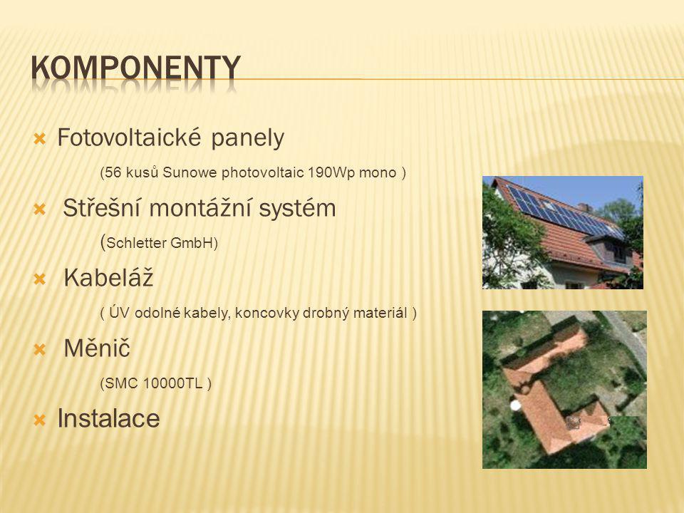 Fotovoltaické panely (56 kusů Sunowe photovoltaic 190Wp mono )  Střešní montážní systém ( Schletter GmbH)  Kabeláž ( ÚV odolné kabely, koncovky dr