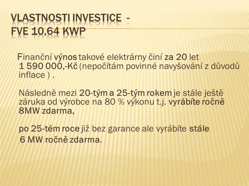 F inanční výnos takové elektrárny činí za 20 let 1 590 000,-Kč (nepočítám povinné navyšování z důvodů inflace ). Následně mezi 20-tým a 25-tým rokem j