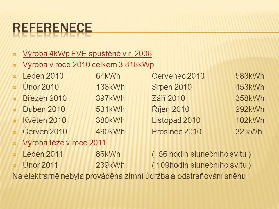  Výroba 4kWp FVE spuštěné v r. 2008  Výroba v roce 2010 celkem 3 818kWp  Leden 201064kWhČervenec 2010583kWh  Únor 2010136kWhSrpen 2010453kWh  Bře