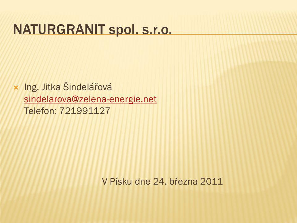 NATURGRANIT spol. s.r.o.  Ing. Jitka Šindelářová sindelarova@zelena-energie.net Telefon: 721991127 sindelarova@zelena-energie.net V Písku dne 24. bře