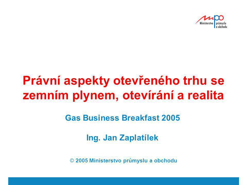 Právní aspekty otevřeného trhu se zemním plynem, otevírání a realita Gas Business Breakfast 2005 Ing. Jan Zaplatílek © 2005 Ministerstvo průmyslu a ob