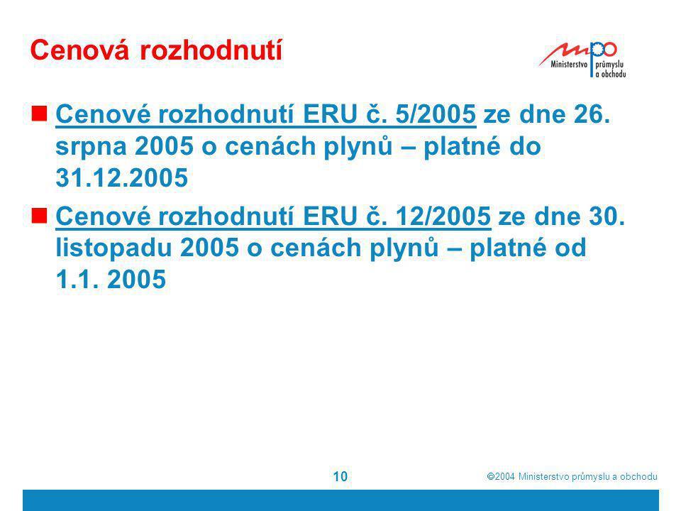  2004  Ministerstvo průmyslu a obchodu 10 Cenová rozhodnutí Cenové rozhodnutí ERU č. 5/2005 ze dne 26. srpna 2005 o cenách plynů – platné do 31.12.