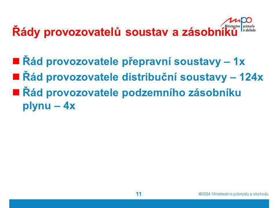  2004  Ministerstvo průmyslu a obchodu 11 Řády provozovatelů soustav a zásobníků Řád provozovatele přepravní soustavy – 1x Řád provozovatele distri