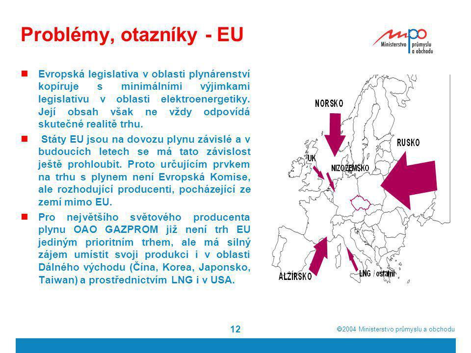  2004  Ministerstvo průmyslu a obchodu 12 Problémy, otazníky - EU Evropská legislativa v oblasti plynárenství kopíruje s minimálními výjimkami legi