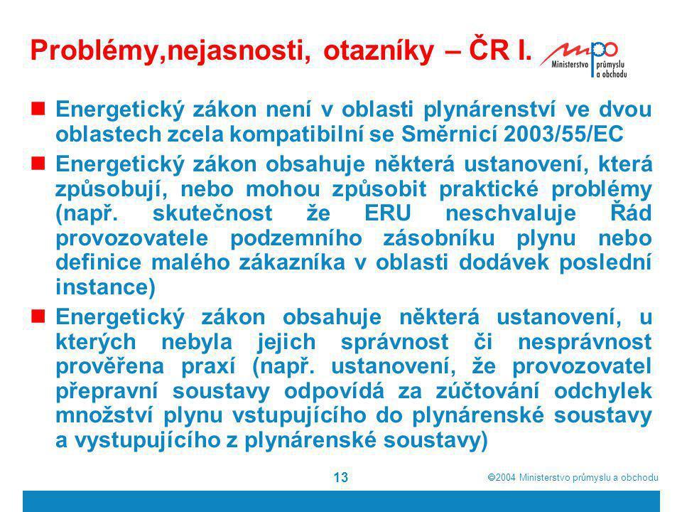  2004  Ministerstvo průmyslu a obchodu 13 Problémy,nejasnosti, otazníky – ČR I. Energetický zákon není v oblasti plynárenství ve dvou oblastech zce
