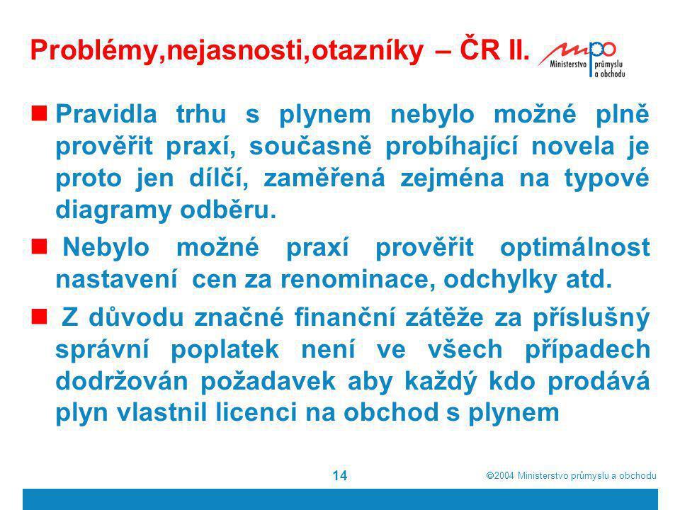  2004  Ministerstvo průmyslu a obchodu 14 Problémy,nejasnosti,otazníky – ČR II. Pravidla trhu s plynem nebylo možné plně prověřit praxí, současně p
