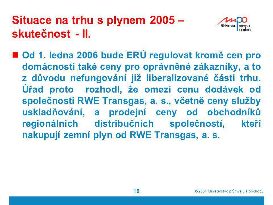  2004  Ministerstvo průmyslu a obchodu 18 Situace na trhu s plynem 2005 – skutečnost - II. Od 1. ledna 2006 bude ERÚ regulovat kromě cen pro domácn