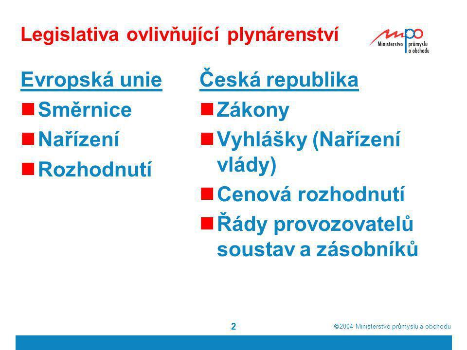  2004  Ministerstvo průmyslu a obchodu 2 Legislativa ovlivňující plynárenství Evropská unie Směrnice Nařízení Rozhodnutí Česká republika Zákony Vyh
