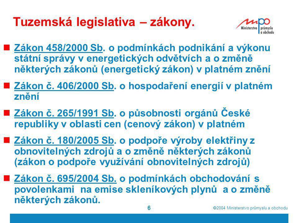  2004  Ministerstvo průmyslu a obchodu 6 Tuzemská legislativa – zákony. Zákon 458/2000 Sb. o podmínkách podnikání a výkonu státní správy v energeti