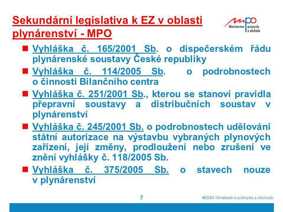  2004  Ministerstvo průmyslu a obchodu 7 Sekundární legislativa k EZ v oblasti plynárenství - MPO Vyhláška č. 165/2001 Sb. o dispečerském řádu plyn
