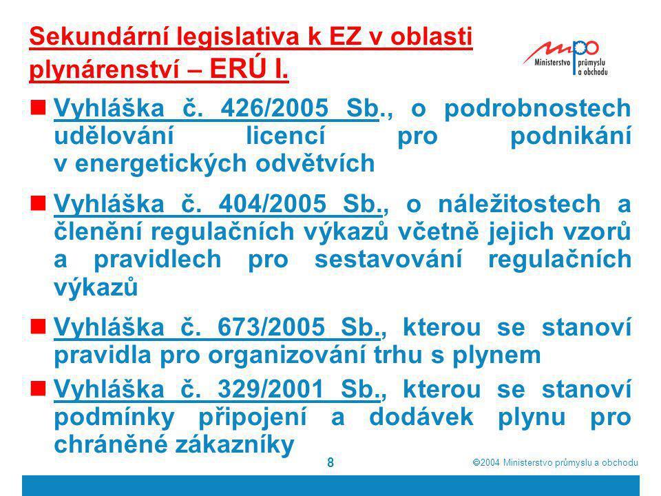  2004  Ministerstvo průmyslu a obchodu 8 Sekundární legislativa k EZ v oblasti plynárenství – ERÚ I. Vyhláška č. 426/2005 Sb., o podrobnostech uděl