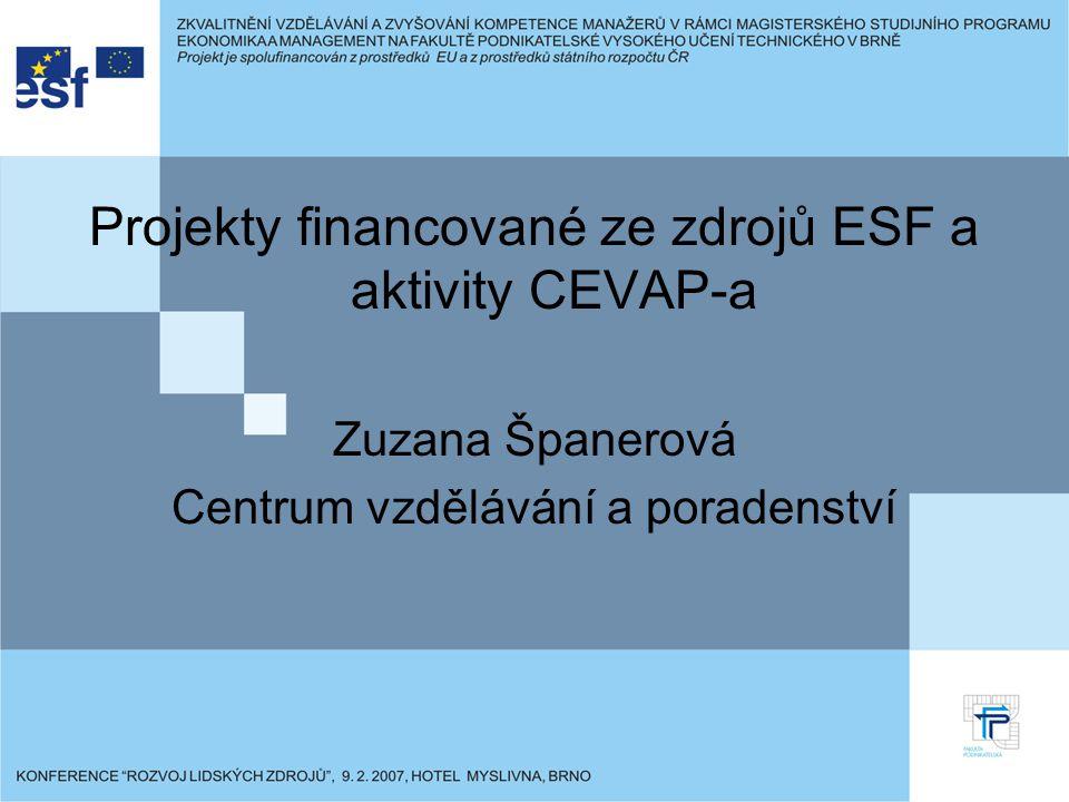 Řešitelům projektů financovaných ze zdrojů ESF jsou poskytovány: Konzultace v oblasti realizace projektů Konzultace při monitorování a řešení vzniklých problémů v souvislosti s realizací projektů Informace o novinkách a změnách souvisejících s realizací projektů