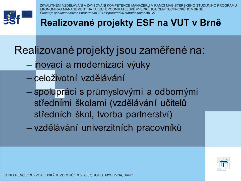 Zájemcům o projekty financované ze zdrojů ESF jsou poskytována: Pomoc a podpora při přípravě návrhů projektů a vyplňování žádostí o finanční podporu Dodání některých potřebných materiálů a příloh k žádostem o získání finanční podpory Kontrola formálních náležitostí projektů před jejich podáním