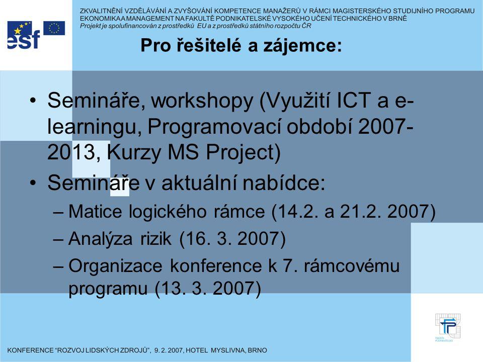 Pro řešitelé a zájemce: Semináře, workshopy (Využití ICT a e- learningu, Programovací období 2007- 2013, Kurzy MS Project) Semináře v aktuální nabídce: –Matice logického rámce (14.2.