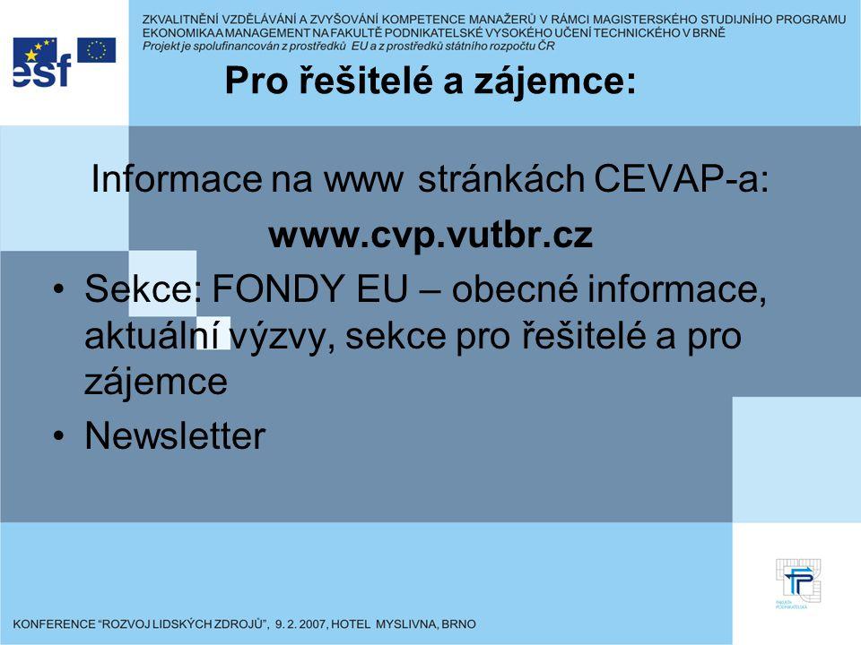 Pro řešitelé a zájemce: Informace na www stránkách CEVAP-a: www.cvp.vutbr.cz Sekce: FONDY EU – obecné informace, aktuální výzvy, sekce pro řešitelé a pro zájemce Newsletter