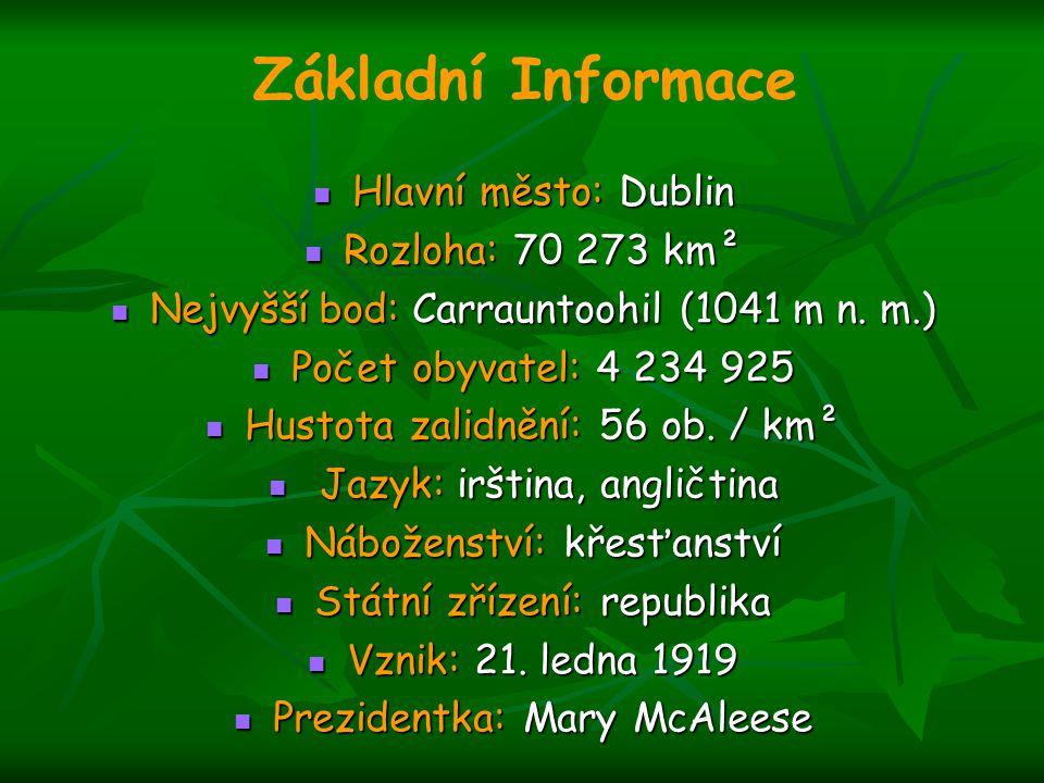 Hlavní město: Dublin Hlavní město: Dublin Rozloha: 70 273 km² Rozloha: 70 273 km² Nejvyšší bod: Carrauntoohil (1041 m n. m.) Nejvyšší bod: Carrauntooh