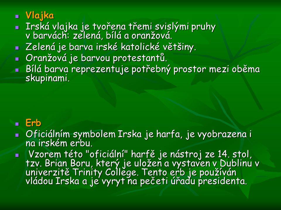 Vlajka Vlajka Irská vlajka je tvořena třemi svislými pruhy v barvách: zelená, bílá a oranžová. Irská vlajka je tvořena třemi svislými pruhy v barvách:
