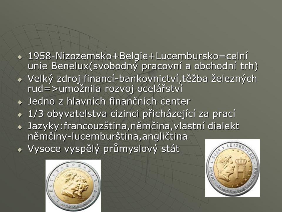  1958-Nizozemsko+Belgie+Lucembursko=celní unie Benelux(svobodný pracovní a obchodní trh)  Velký zdroj financí-bankovnictví,těžba železných rud=>umožnila rozvoj ocelářství  Jedno z hlavních finančních center  1/3 obyvatelstva cizinci přicházející za prací  Jazyky:francouzština,němčina,vlastní dialekt němčiny-lucemburština,angličtina  Vysoce vyspělý průmyslový stát