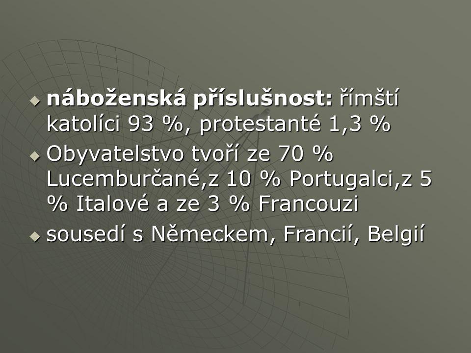  náboženská příslušnost: římští katolíci 93 %, protestanté 1,3 %  Obyvatelstvo tvoří ze 70 % Lucemburčané,z 10 % Portugalci,z 5 % Italové a ze 3 % Francouzi  sousedí s Německem, Francií, Belgií