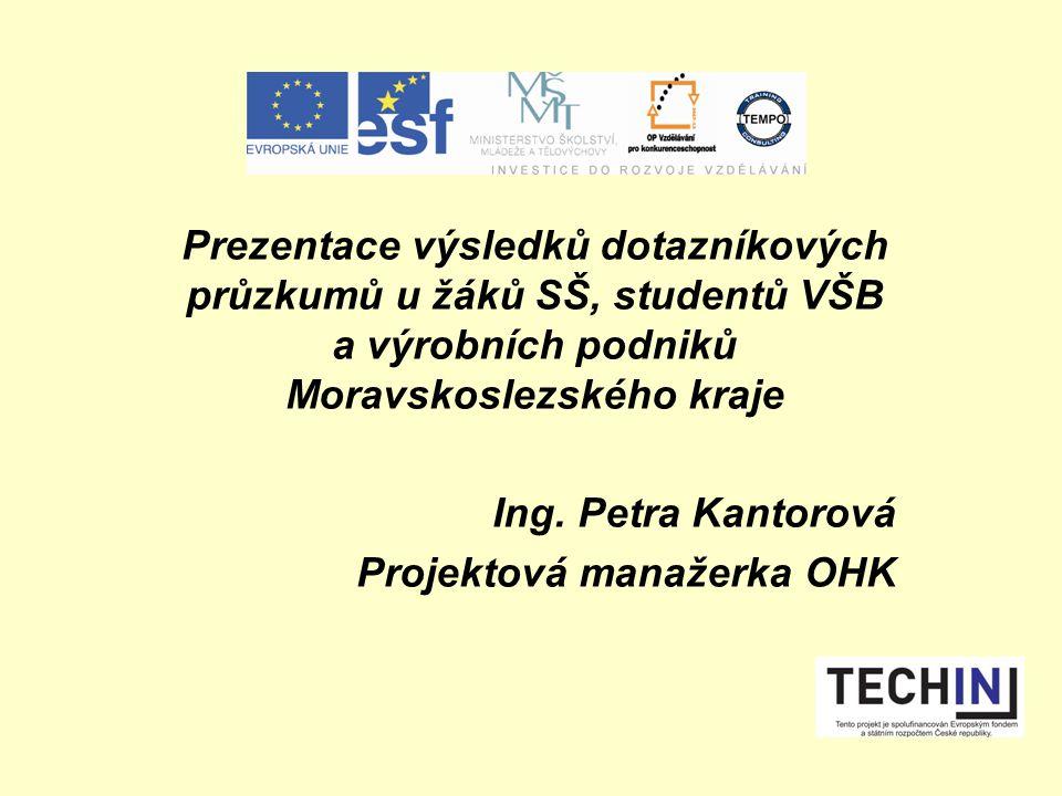Prezentace výsledků dotazníkových průzkumů u žáků SŠ, studentů VŠB a výrobních podniků Moravskoslezského kraje Ing.