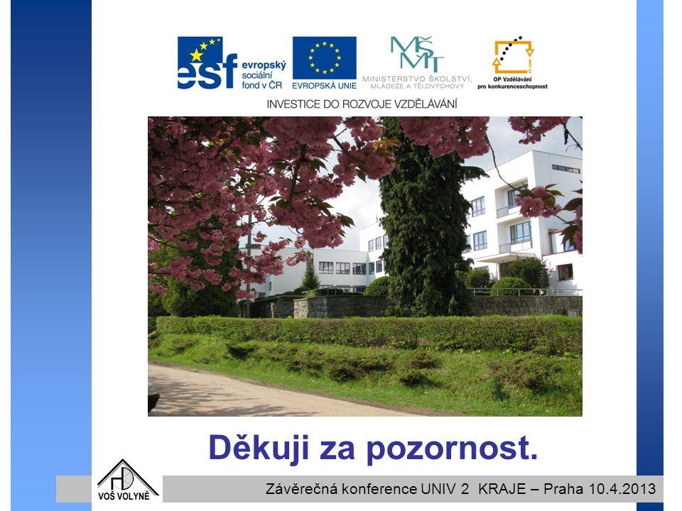 Děkuji za pozornost. Závěrečná konference UNIV 2 KRAJE – Praha 10.4.2013