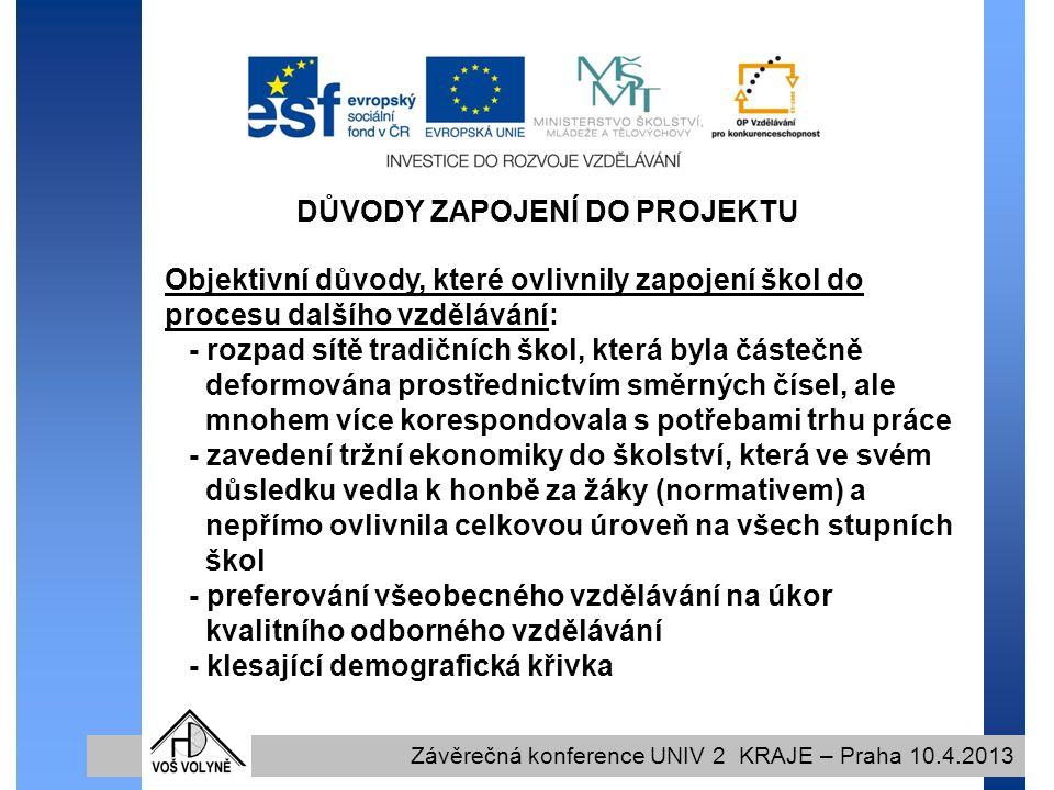 DŮVODY ZAPOJENÍ DO PROJEKTU Závěrečná konference UNIV 2 KRAJE – Praha 10.4.2013 Objektivní důvody, které ovlivnily zapojení škol do procesu dalšího vzdělávání: - rozpad sítě tradičních škol, která byla částečně deformována prostřednictvím směrných čísel, ale mnohem více korespondovala s potřebami trhu práce - zavedení tržní ekonomiky do školství, která ve svém důsledku vedla k honbě za žáky (normativem) a nepřímo ovlivnila celkovou úroveň na všech stupních škol - preferování všeobecného vzdělávání na úkor kvalitního odborného vzdělávání - klesající demografická křivka