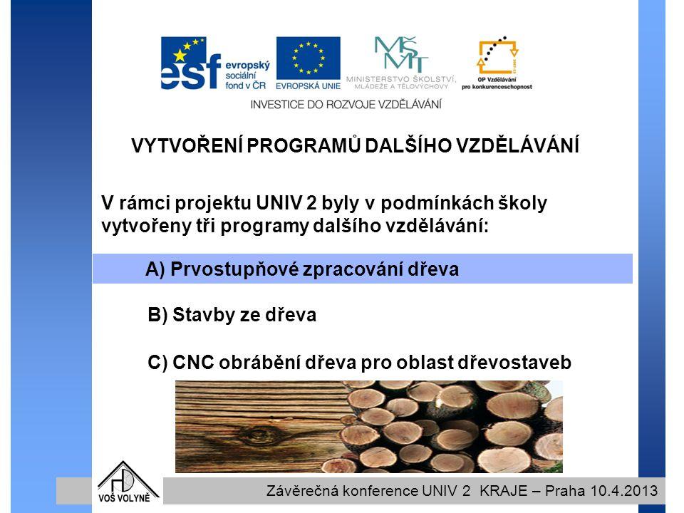 VYTVOŘENÍ PROGRAMŮ DALŠÍHO VZDĚLÁVÁNÍ Závěrečná konference UNIV 2 KRAJE – Praha 10.4.2013 V rámci projektu UNIV 2 byly v podmínkách školy vytvořeny tři programy dalšího vzdělávání: A) Prvostupňové zpracování dřeva B) Stavby ze dřeva C) CNC obrábění dřeva pro oblast dřevostaveb