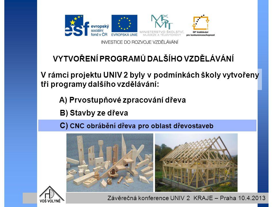 VYTVOŘENÍ PROGRAMŮ DALŠÍHO VZDĚLÁVÁNÍ Závěrečná konference UNIV 2 KRAJE – Praha 10.4.2013 V rámci projektu UNIV 2 byly v podmínkách školy vytvořeny tři programy dalšího vzdělávání: C) CNC obrábění dřeva pro oblast dřevostaveb A) Prvostupňové zpracování dřeva B) Stavby ze dřeva