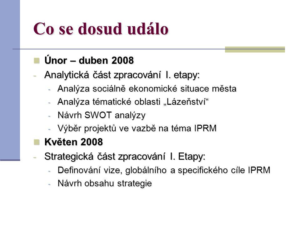 Co se dosud událo Únor – duben 2008 Únor – duben 2008 - Analytická část zpracování I.