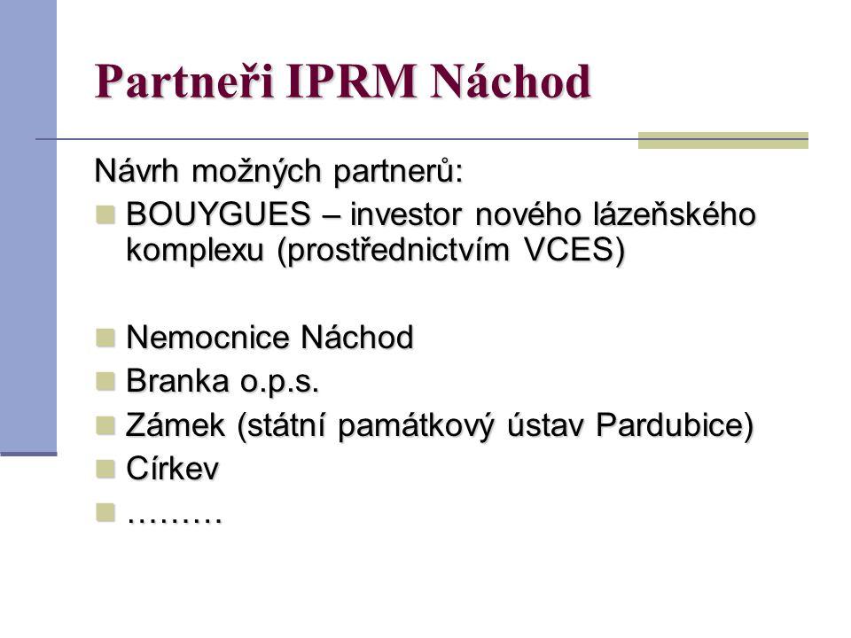 Partneři IPRM Náchod Návrh možných partnerů: BOUYGUES – investor nového lázeňského komplexu (prostřednictvím VCES) BOUYGUES – investor nového lázeňského komplexu (prostřednictvím VCES) Nemocnice Náchod Nemocnice Náchod Branka o.p.s.