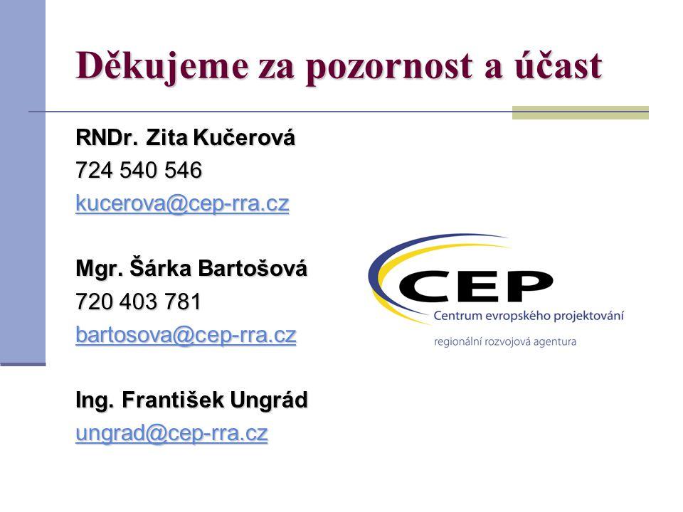 Děkujeme za pozornost a účast RNDr. Zita Kučerová 724 540 546 kucerova@cep-rra.cz Mgr.