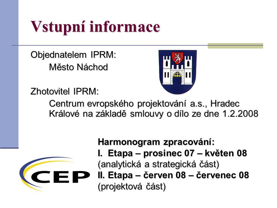 Vstupní informace Objednatelem IPRM: Město Náchod Zhotovitel IPRM: Centrum evropského projektování a.s., Hradec Králové na základě smlouvy o dílo ze dne 1.2.2008 Harmonogram zpracování: I.