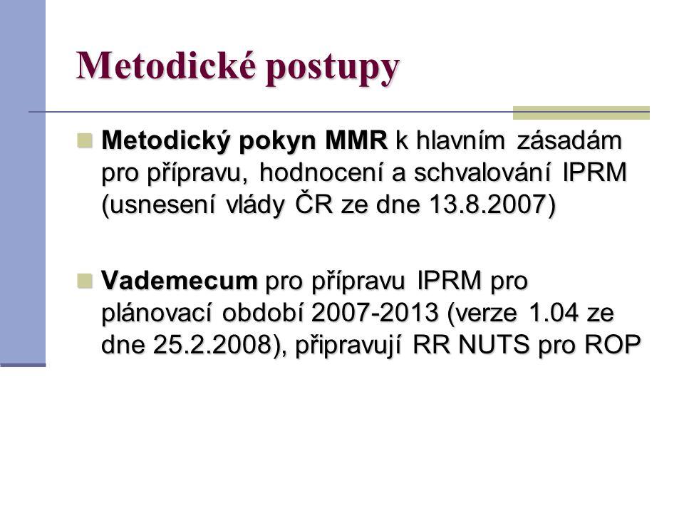 Metodické postupy Metodický pokyn MMR k hlavním zásadám pro přípravu, hodnocení a schvalování IPRM (usnesení vlády ČR ze dne 13.8.2007) Metodický pokyn MMR k hlavním zásadám pro přípravu, hodnocení a schvalování IPRM (usnesení vlády ČR ze dne 13.8.2007) Vademecum pro přípravu IPRM pro plánovací období 2007-2013 (verze 1.04 ze dne 25.2.2008), připravují RR NUTS pro ROP Vademecum pro přípravu IPRM pro plánovací období 2007-2013 (verze 1.04 ze dne 25.2.2008), připravují RR NUTS pro ROP