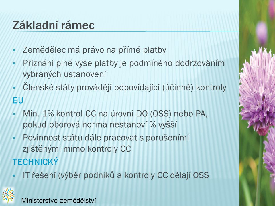 ZAVEDENÍ SYSTÉMU VZÁJEMNÉHO PLNĚNÍ: × povinné pro všechny žadatele o PP a některých opatření PRV × postupné zavádění požadavků kontroly podmíněnosti × EU-15 (SPS) – 2005, 2006, 2007 × EU-10 (SAPS) - včetně ČR  2009 – část A přílohy III nařízení Rady (ES) č.