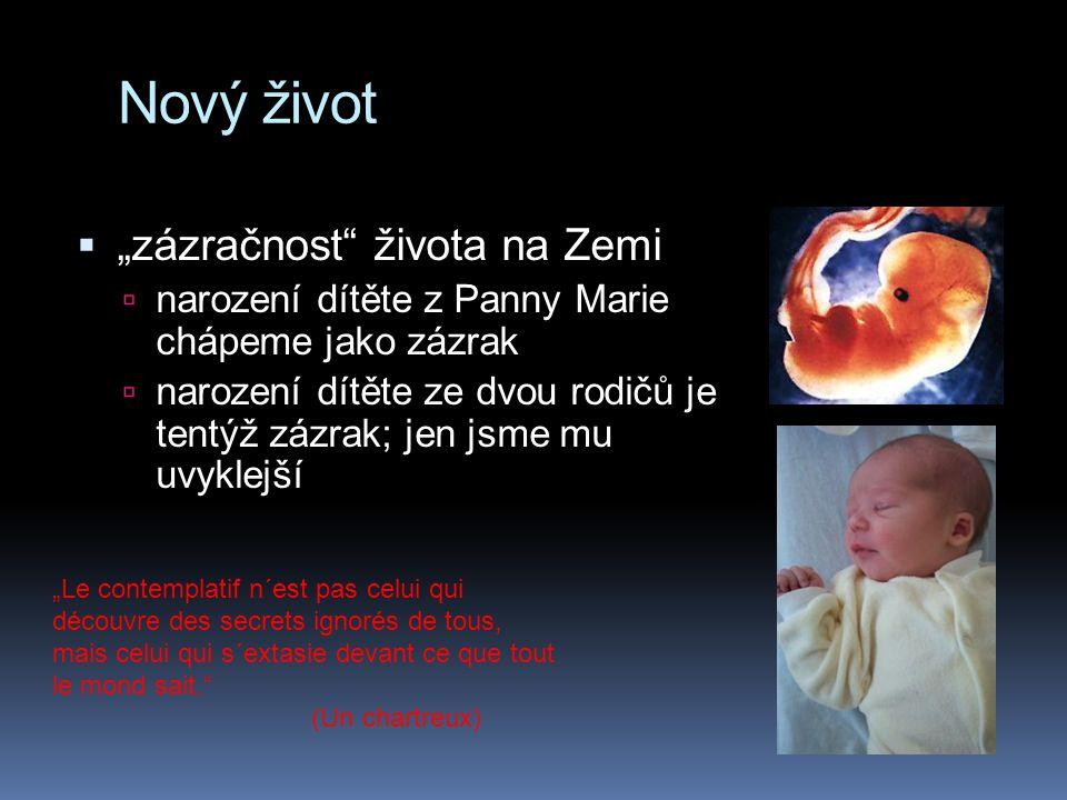 """Nový život  """"zázračnost"""" života na Zemi  narození dítěte z Panny Marie chápeme jako zázrak  narození dítěte ze dvou rodičů je tentýž zázrak; jen js"""