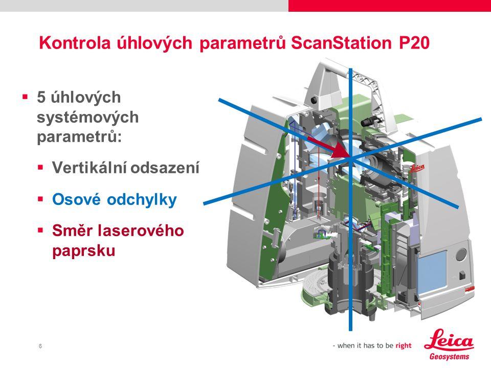 17 Kontrola parametrů kompenzátoru  Stisk tlačítka.